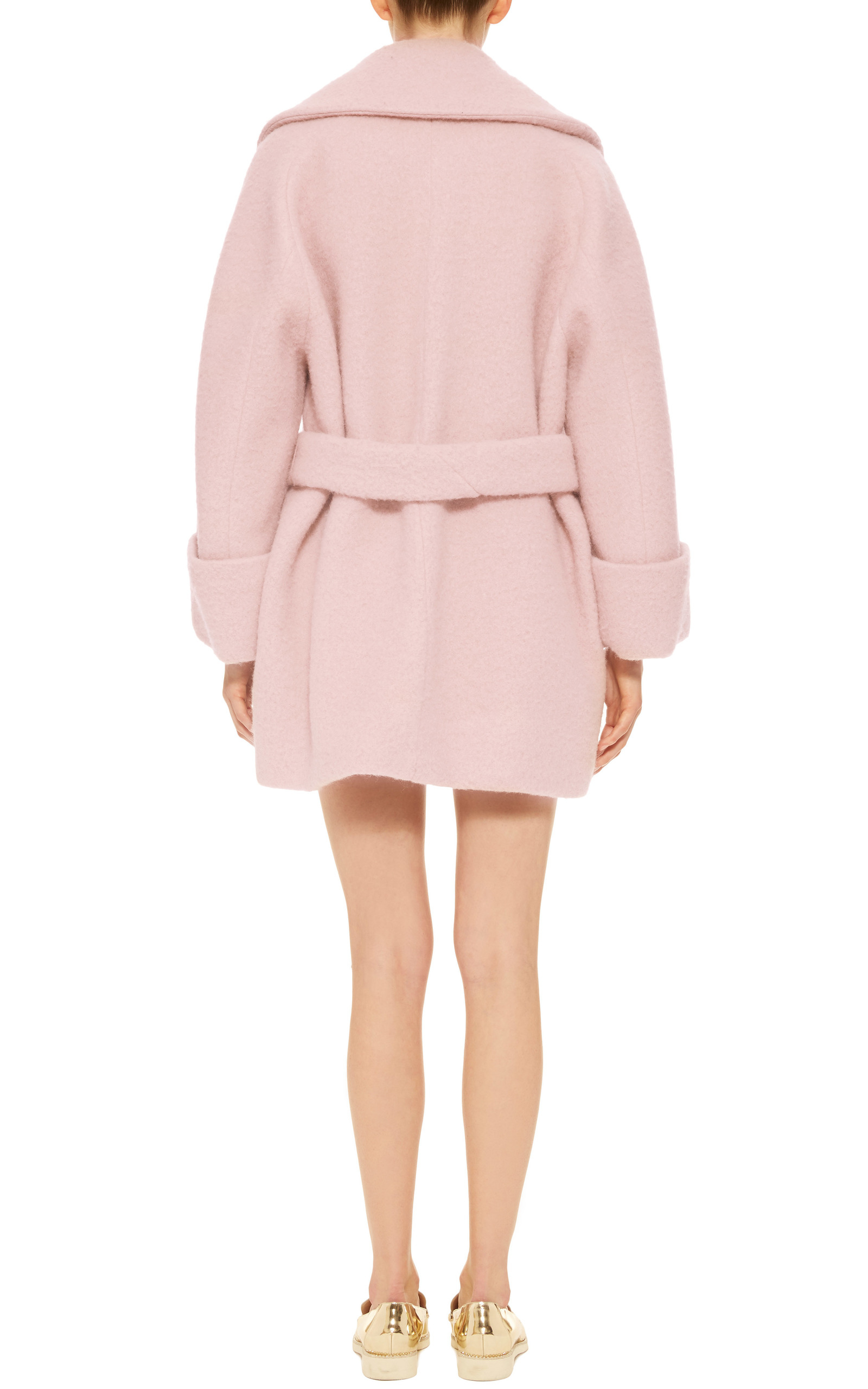 Carven Pink Wool Manteau Court Coat in Pink | Lyst