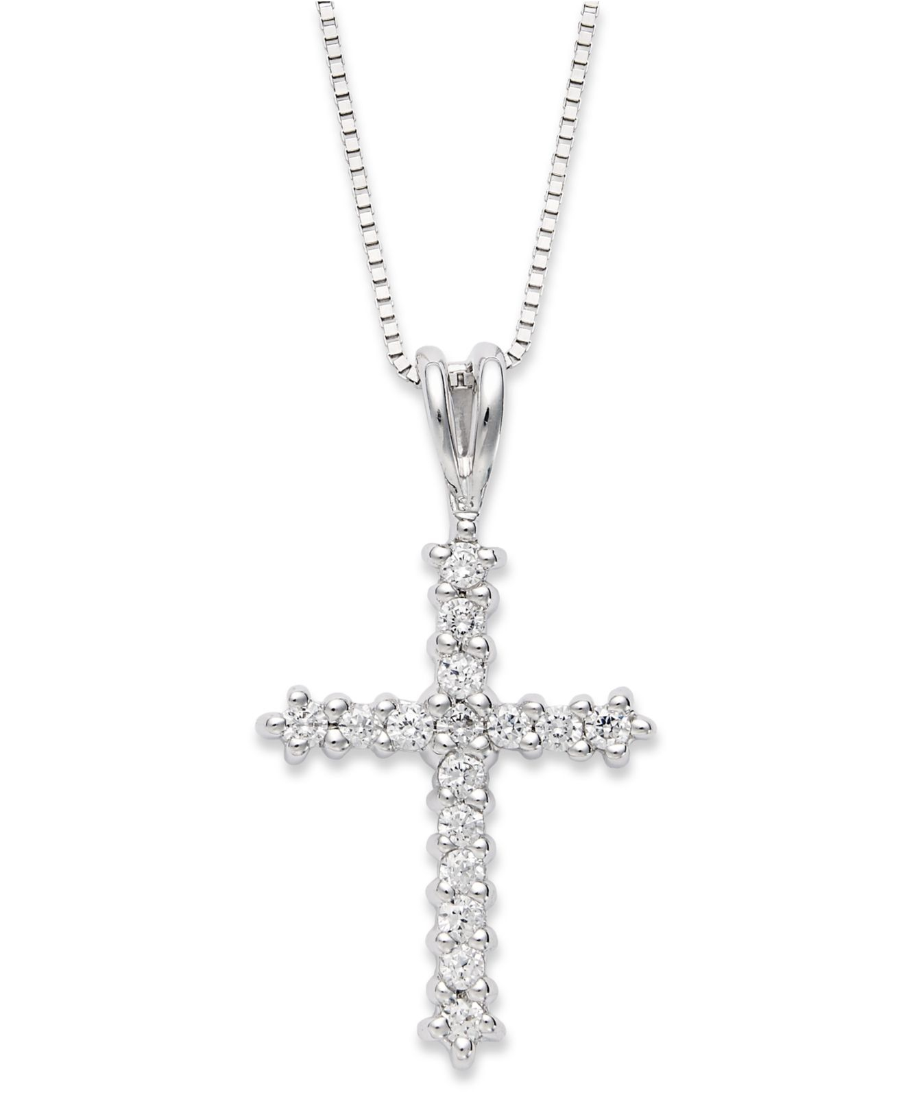 macy 39 s diamond cross pendant necklace 1 2 ct t w in. Black Bedroom Furniture Sets. Home Design Ideas