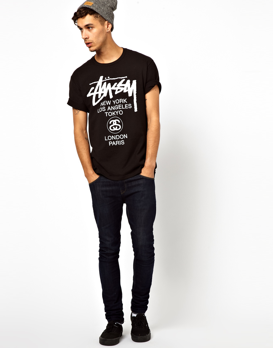 Lyst - Stussy T-shirt With World Tour Print in Black for Men a9dfb1f5ace0