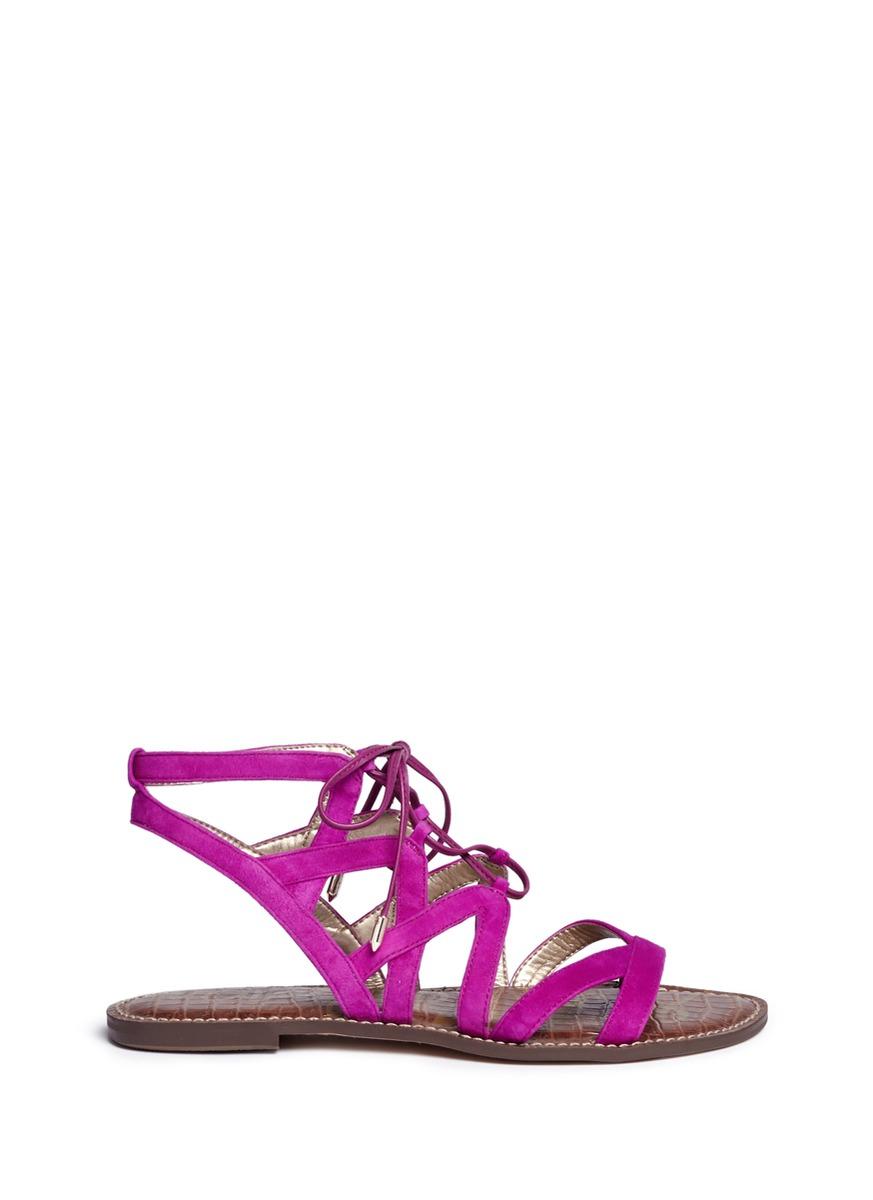 d6d524da1d74f1 Lyst - Sam Edelman  gemma  Caged Suede Lace-up Sandals in Pink
