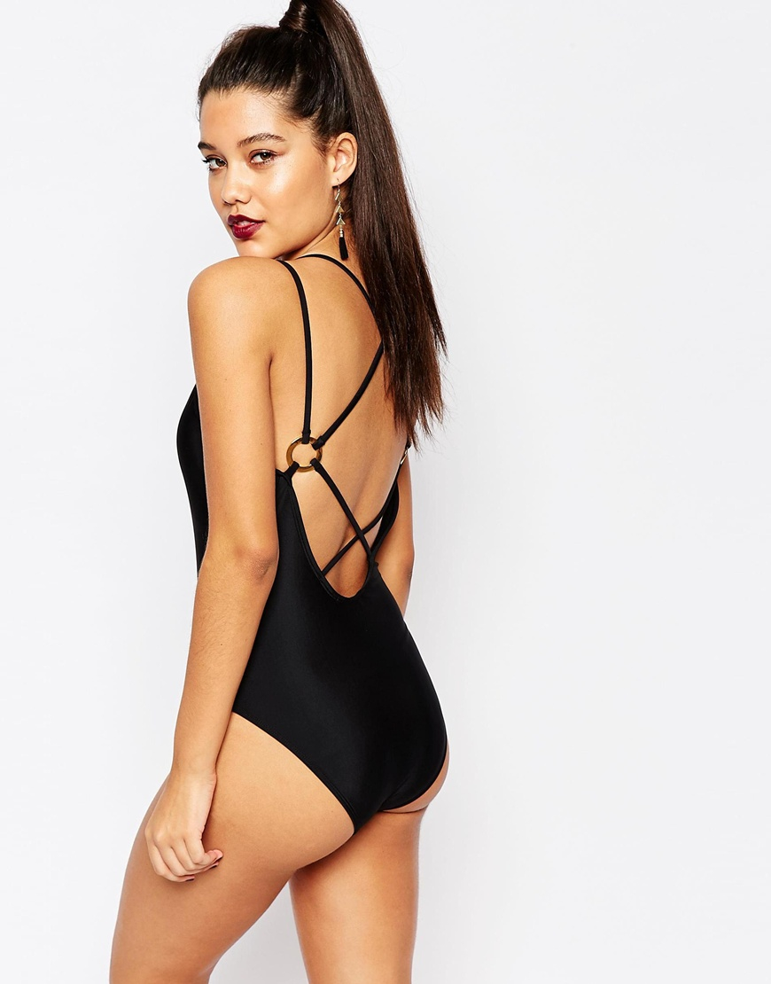 7e9a28849f3 Missguided Plunge Neck Strappy Back Swimsuit in Black - Lyst. Go to  original Black Strappy Back Swimsuit pic
