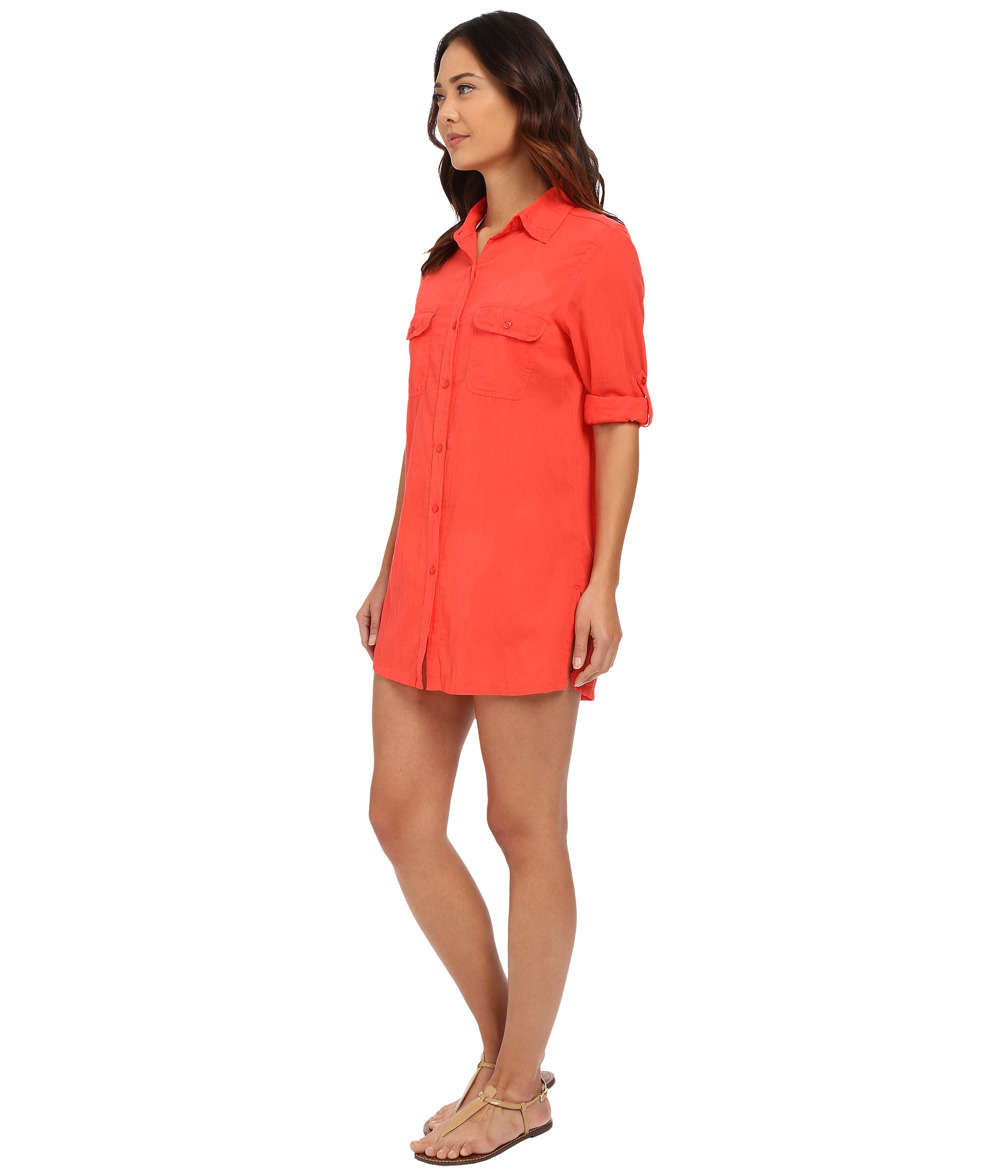 affdd97590f Lyst - Lauren by Ralph Lauren Crushed Cotton Camp Shirt Cover-up in Pink