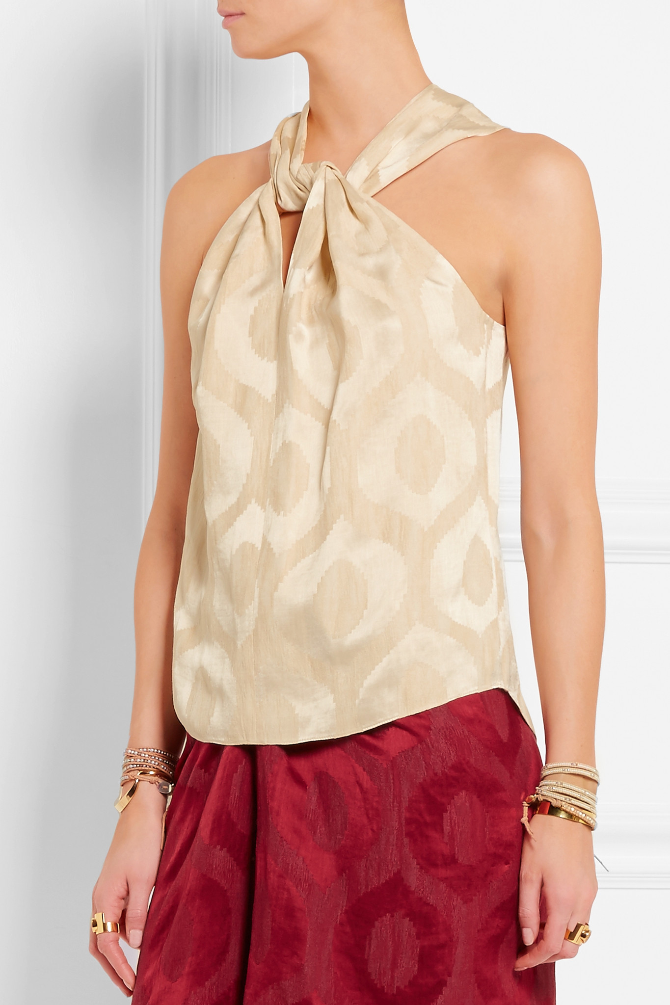 353ad28e8f4d5 Isabel Marant Stephen Twisted Satin-jacquard Top in Natural - Lyst