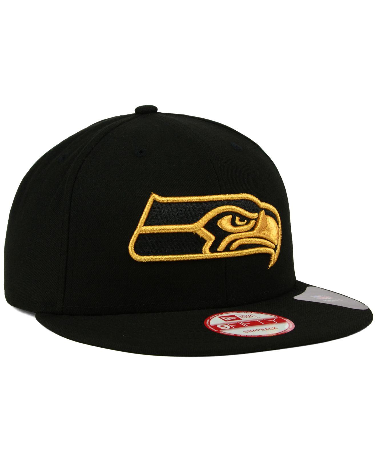 61567c658 Lyst - KTZ Seattle Seahawks Black Metallic Gold 9fifty Snapback Cap ...