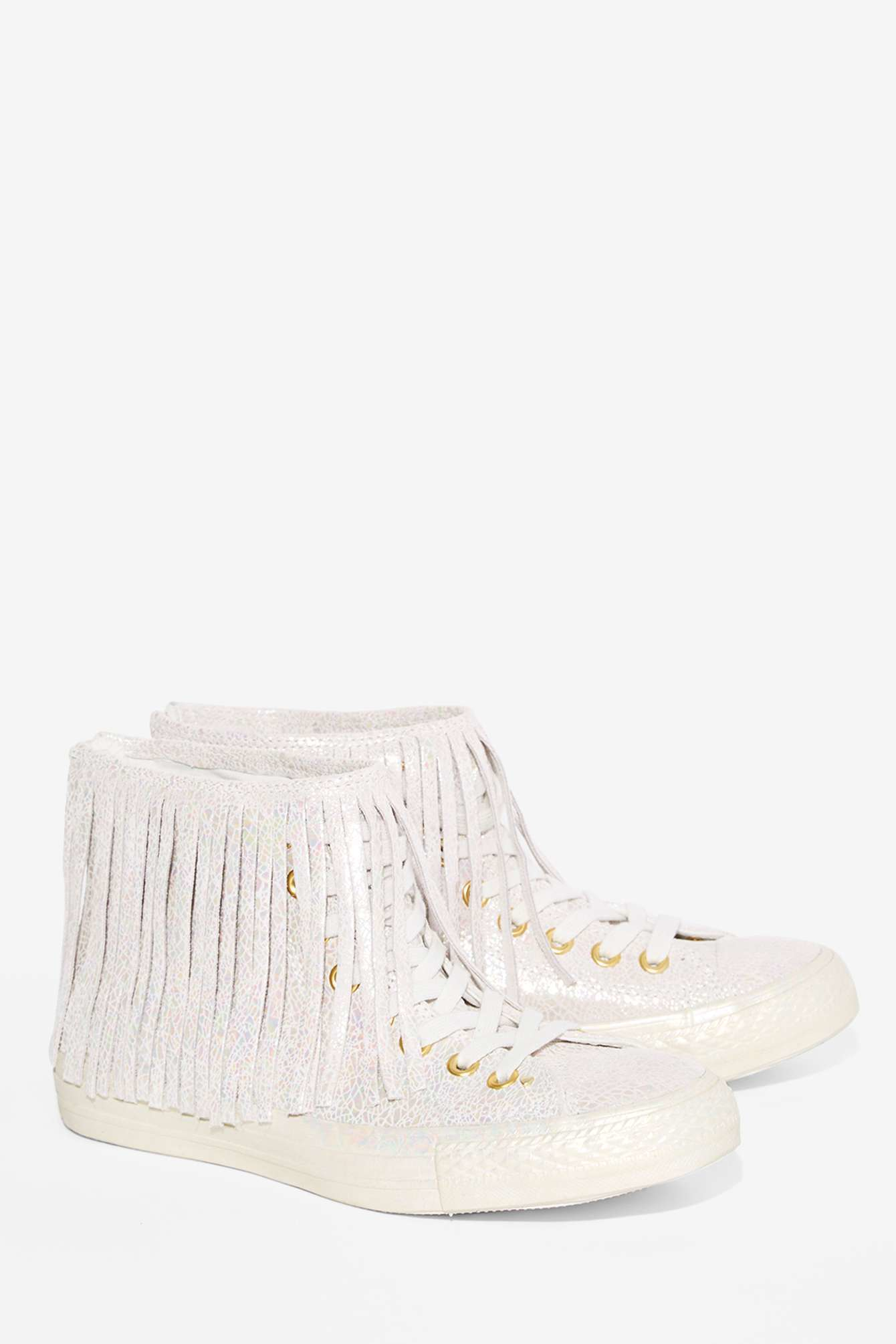d639033270b7 Lyst - Converse All Star Fringe High-top Leather Sneaker ...