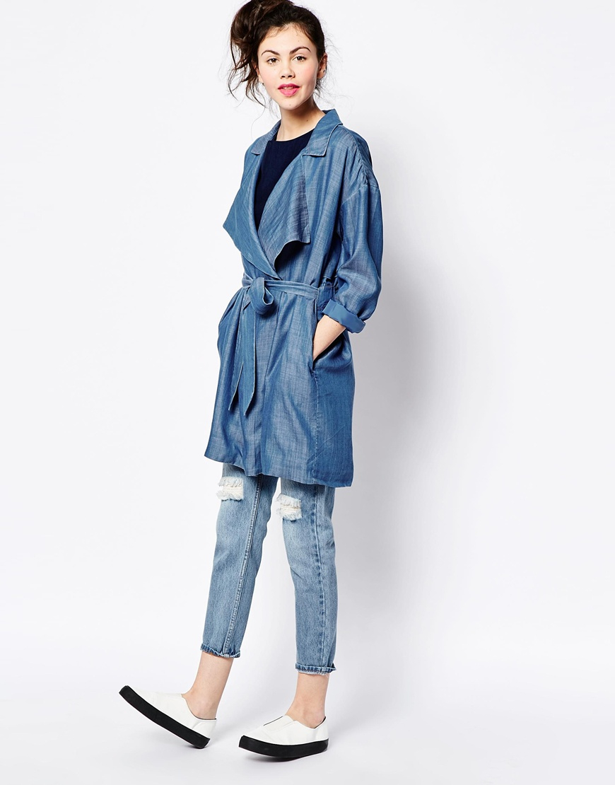 Lyst - Monki Denim Trench Coat in Blue