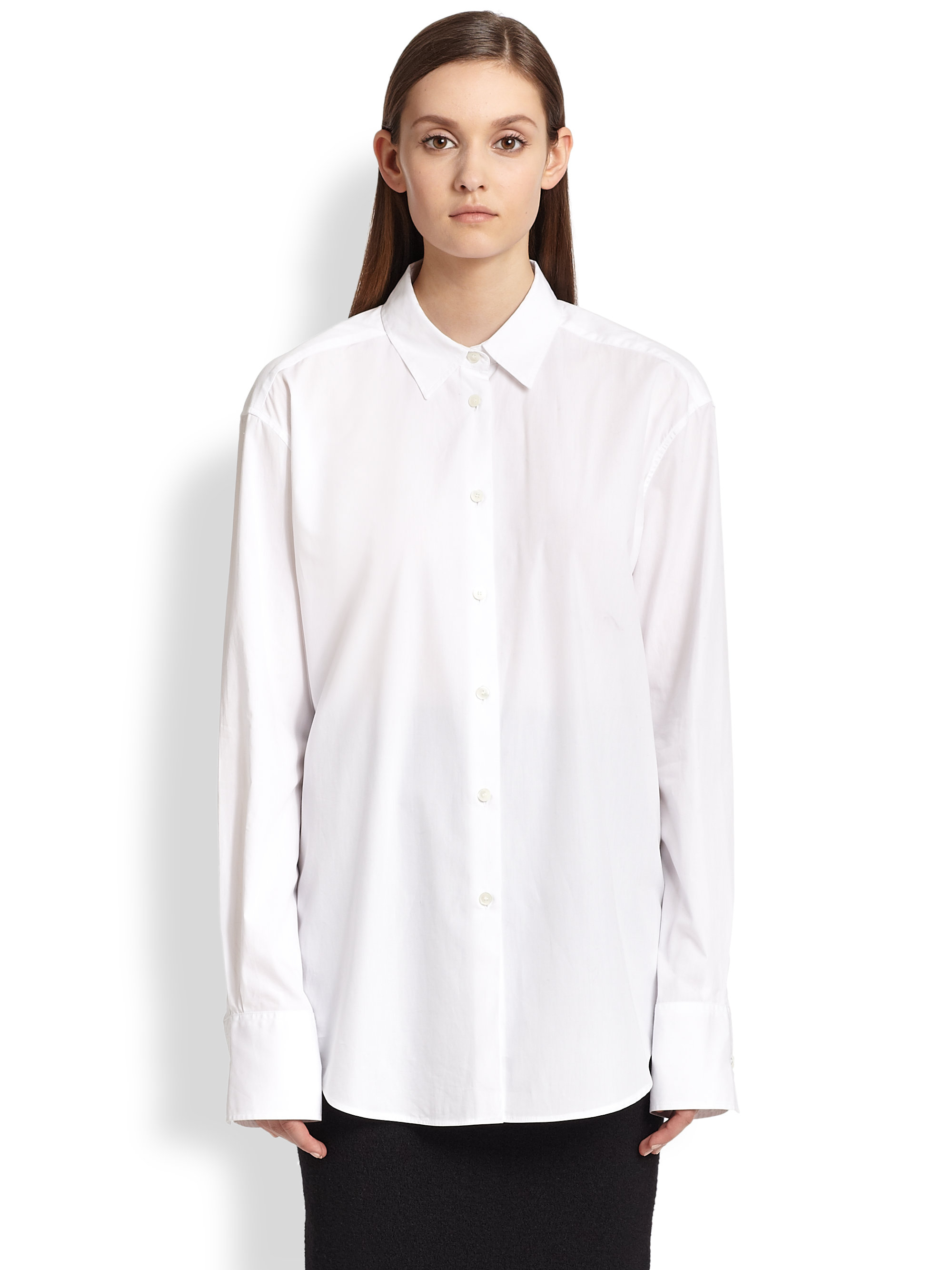 Acne studios oversized cotton poplin shirt in white lyst for What is a poplin shirt