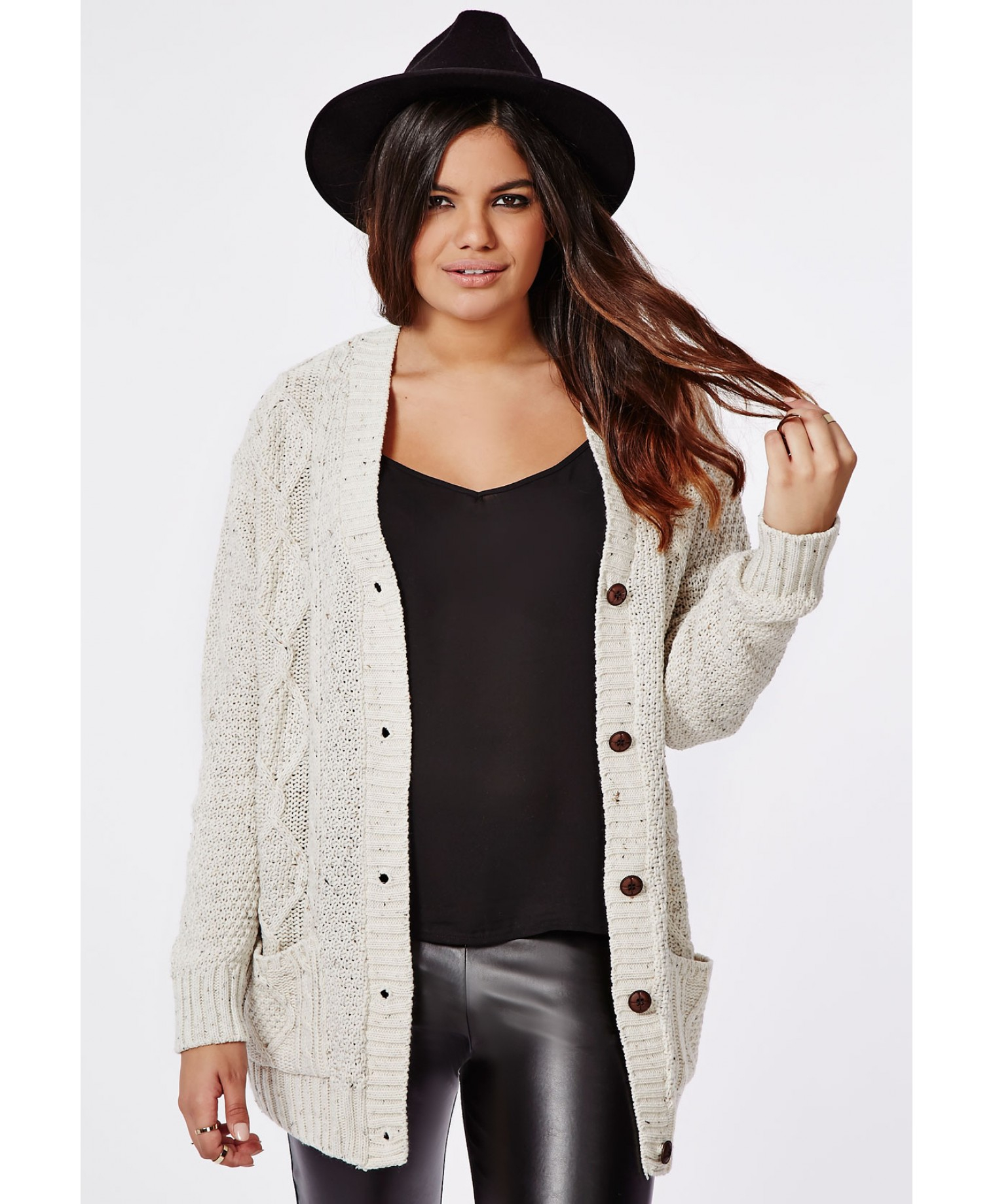 1a169c73e60 Lyst - Missguided Plus Size Longline Chunky Knit Cardigan Cream in ...