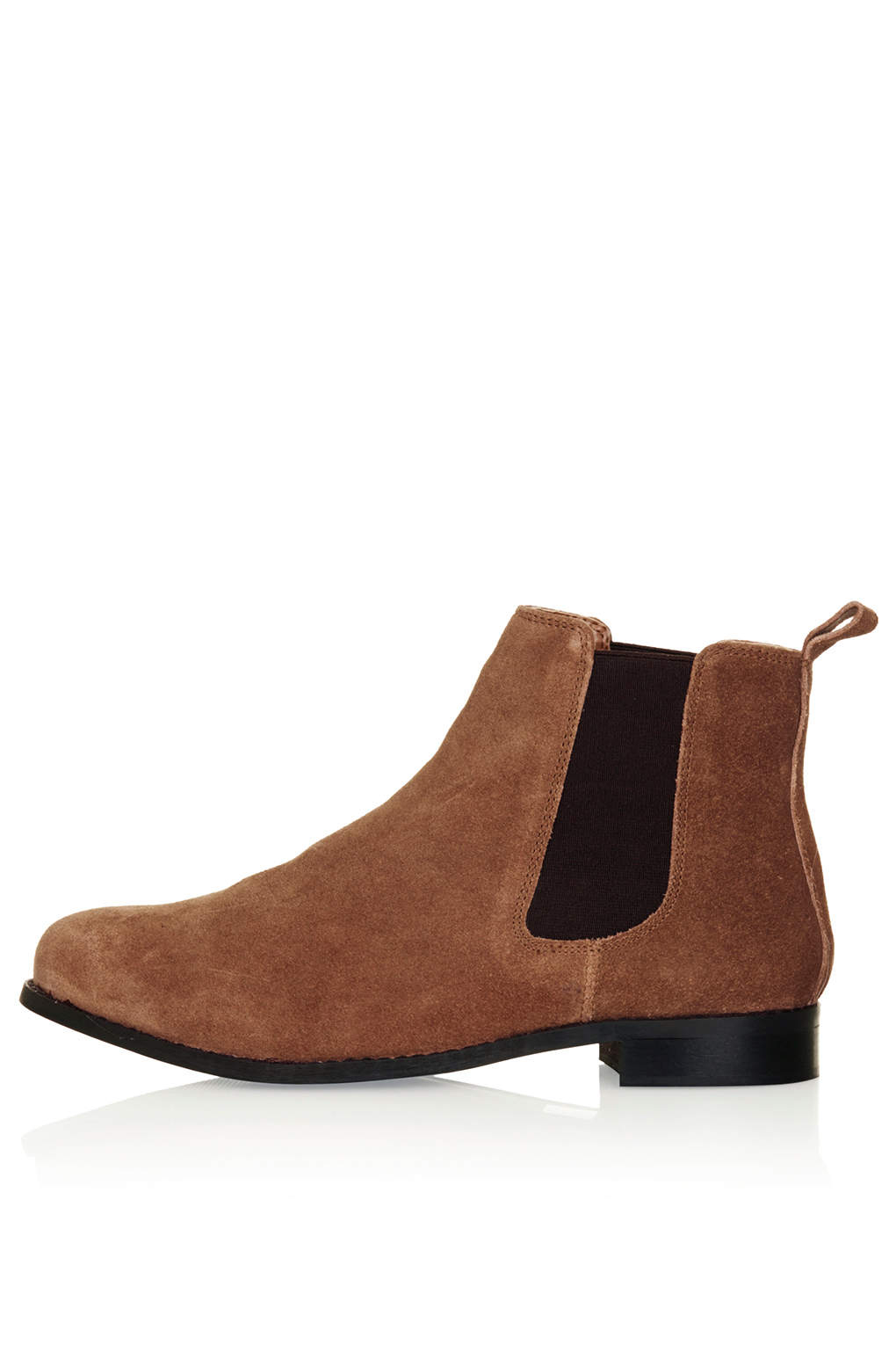 Lyst - TOPSHOP Month Suede Chelsea Boots in Brown 877742f43458