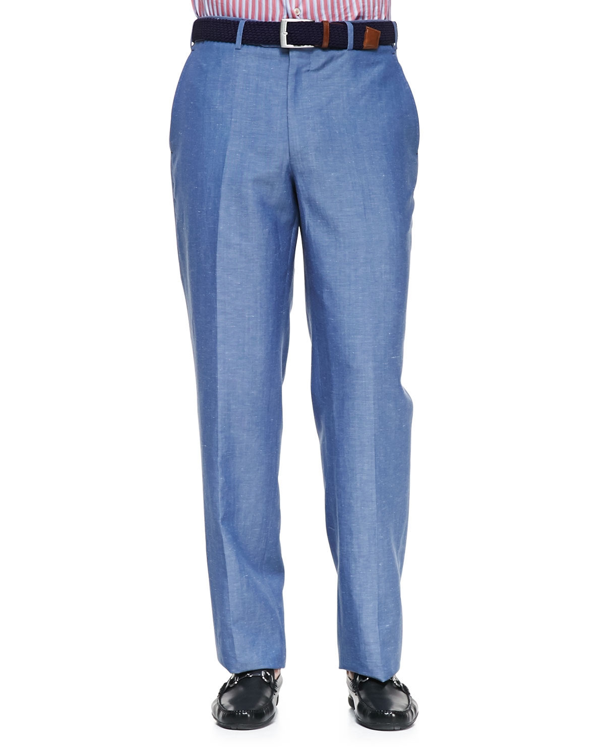Peter millar Wool Linen Flatfront Dress Pants in Blue for Men | Lyst