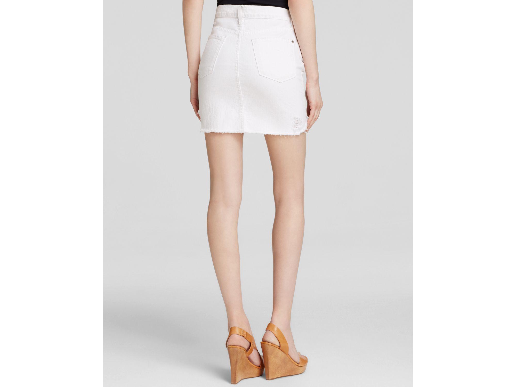 denim skirt in white in white lyst