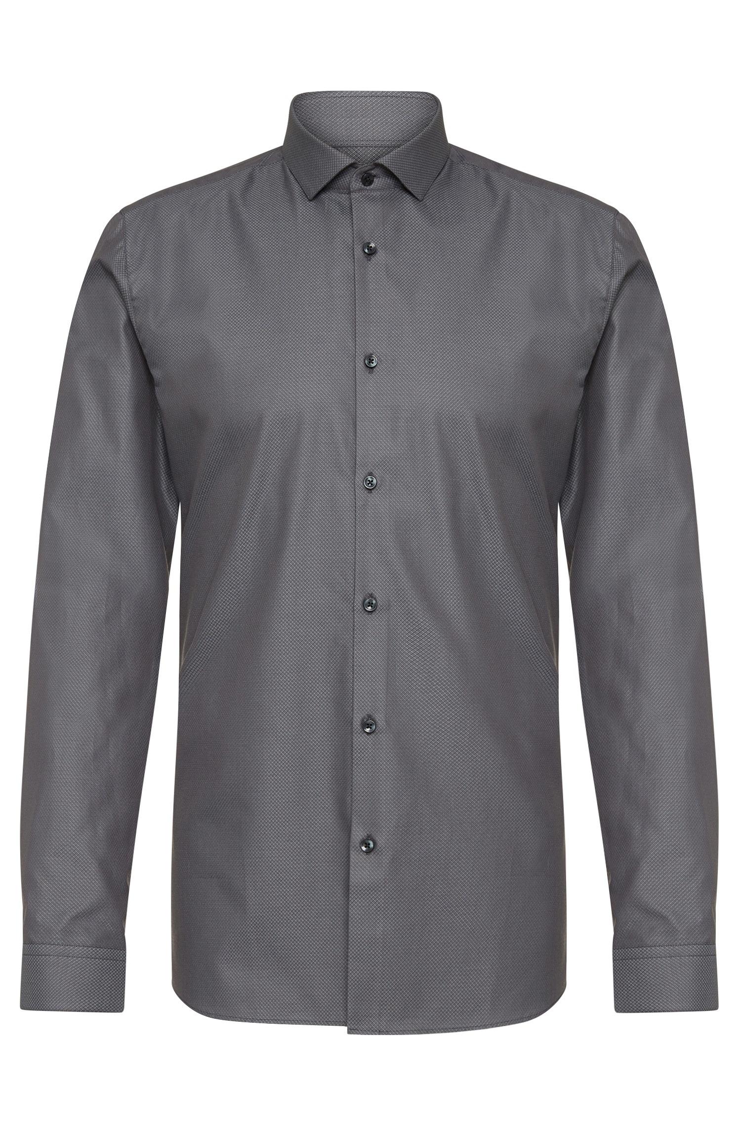 Hugo Slim Fit Shirt In Cotton 39 Erondo 39 In Gray For Men