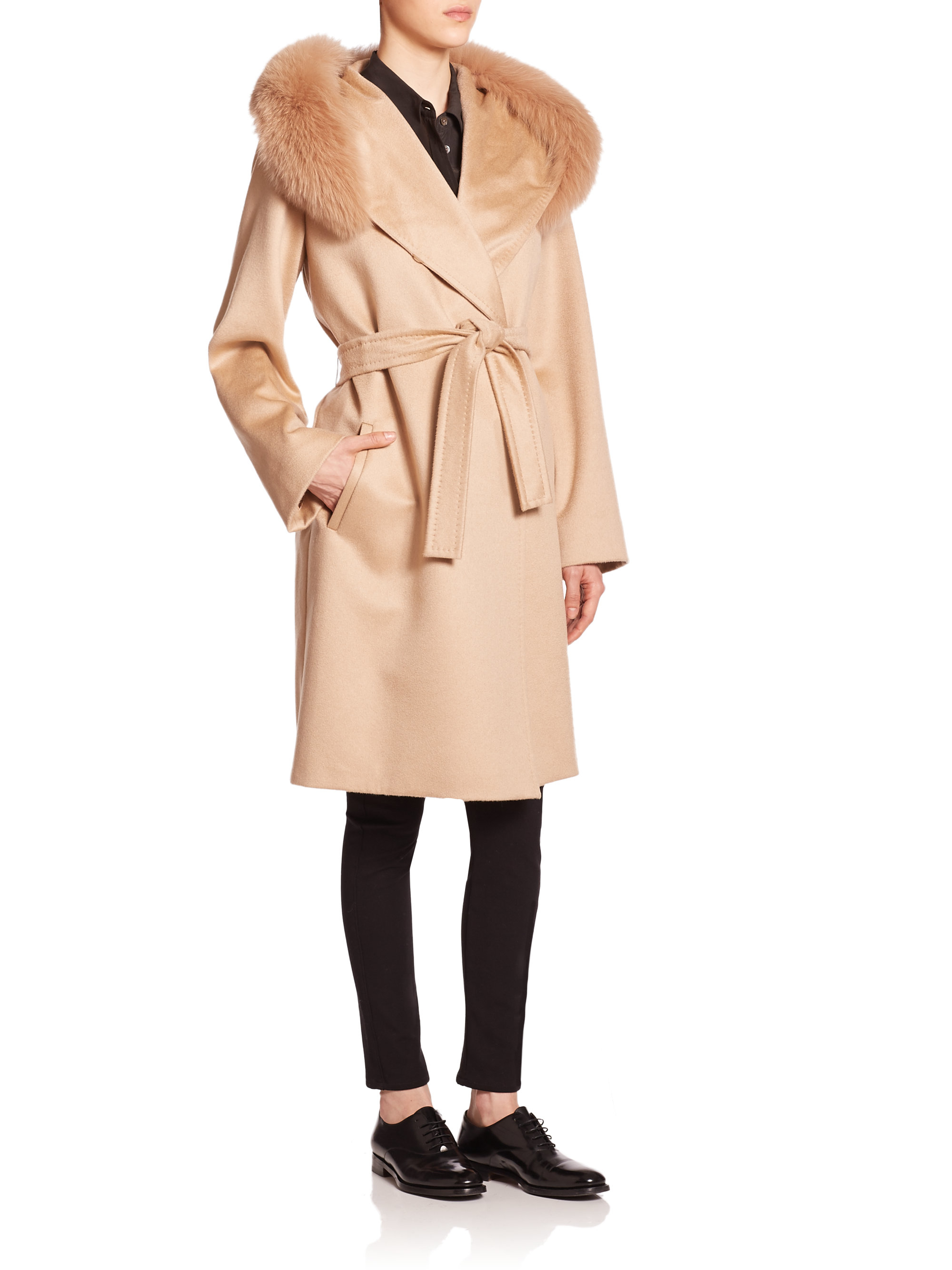Max mara studio Lallo Fur-trimmed Cashmere Coat in Natural | Lyst