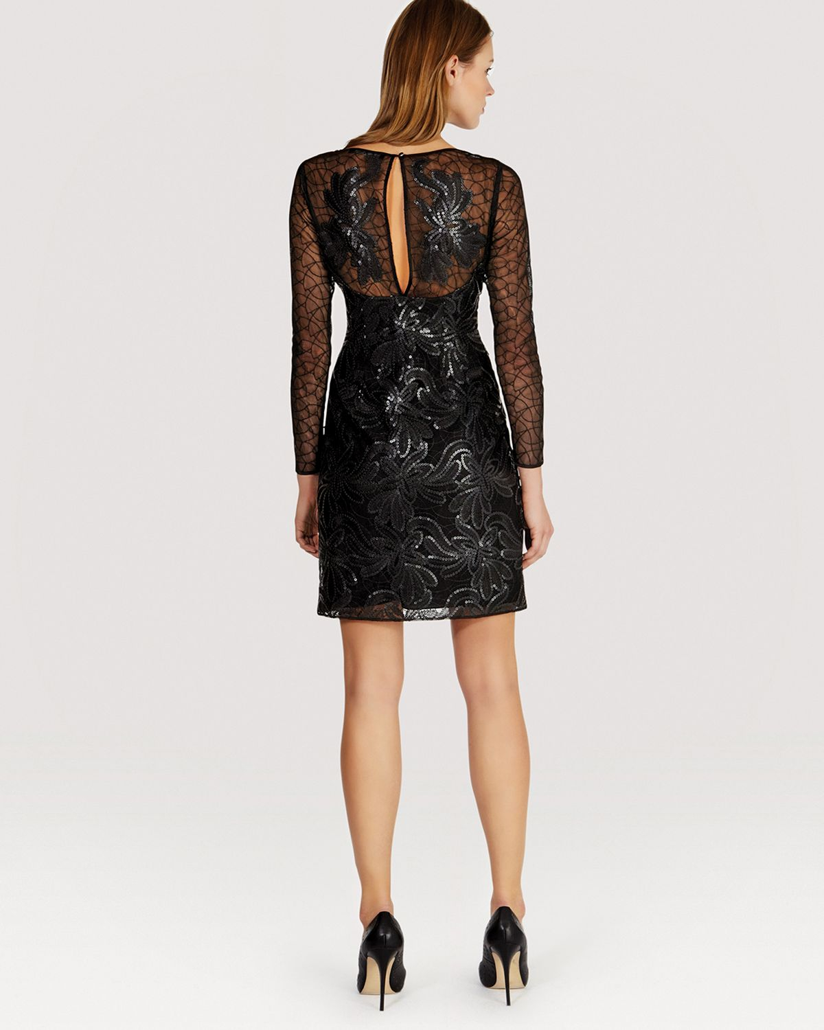 Karen Millen Dress Faux Leather Sequin Mesh In Black Lyst
