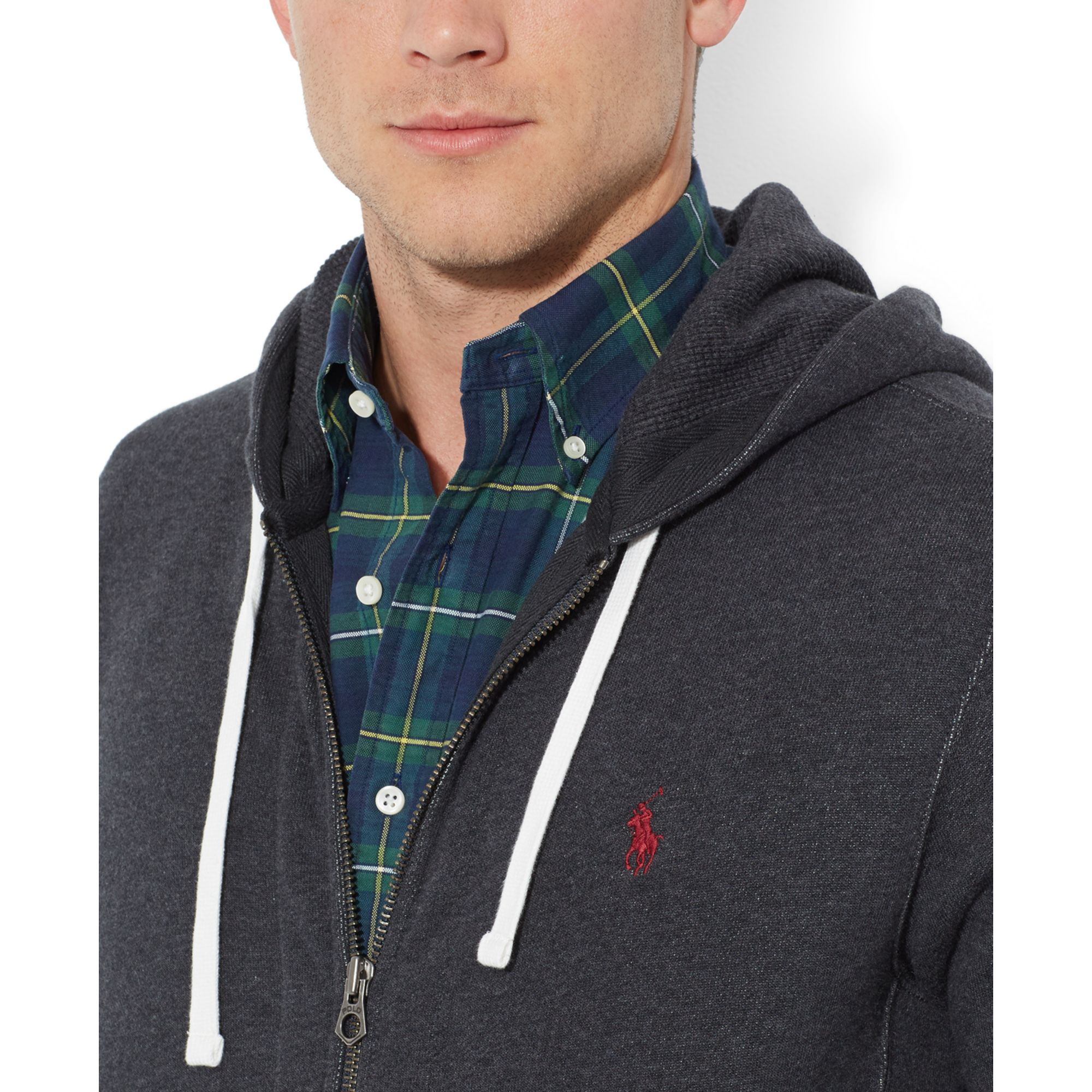 Polo Ralph Lauren Full-Zip French-Rib Grey Hoodie .
