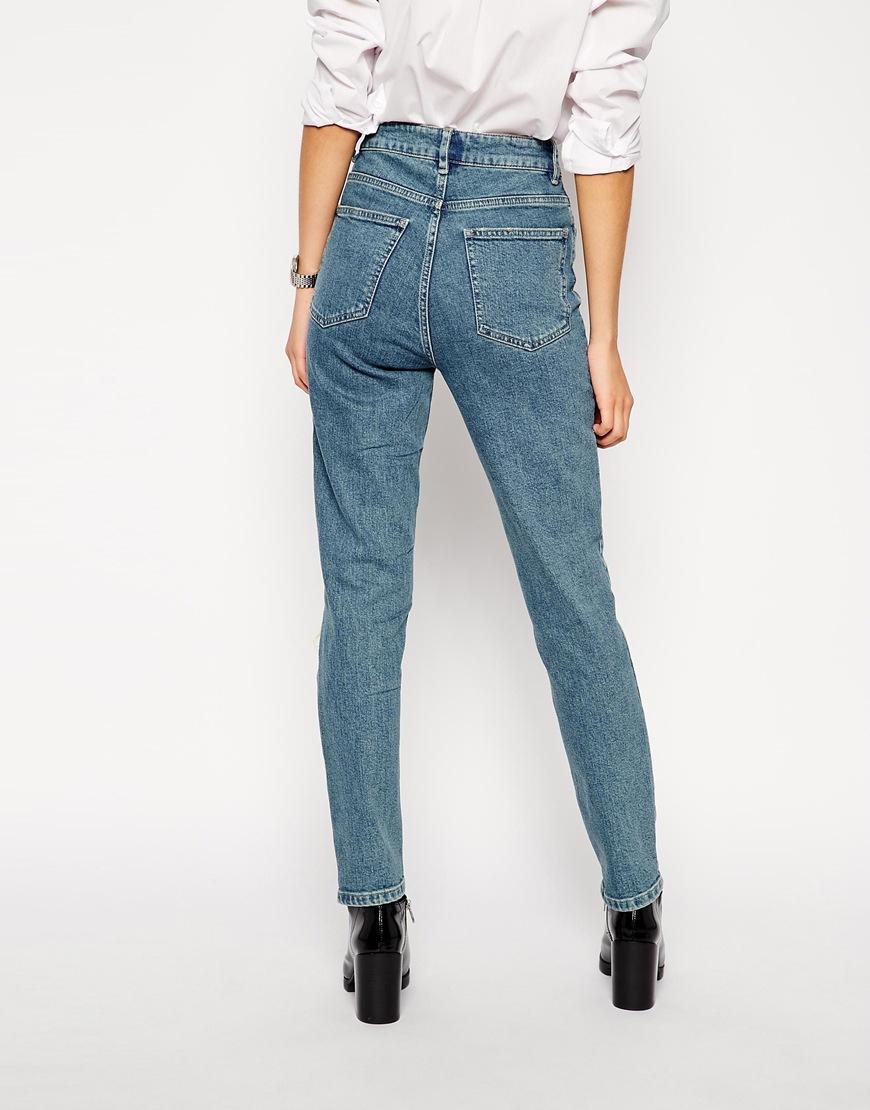 lyst asos farleigh high waist slim mom jeans in rosebowl. Black Bedroom Furniture Sets. Home Design Ideas