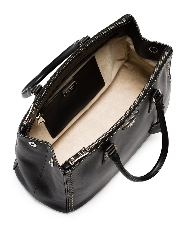... order lyst prada city calf double zip executive tote bag in black eafeb  bc6a2 ad9d208fdf7e6
