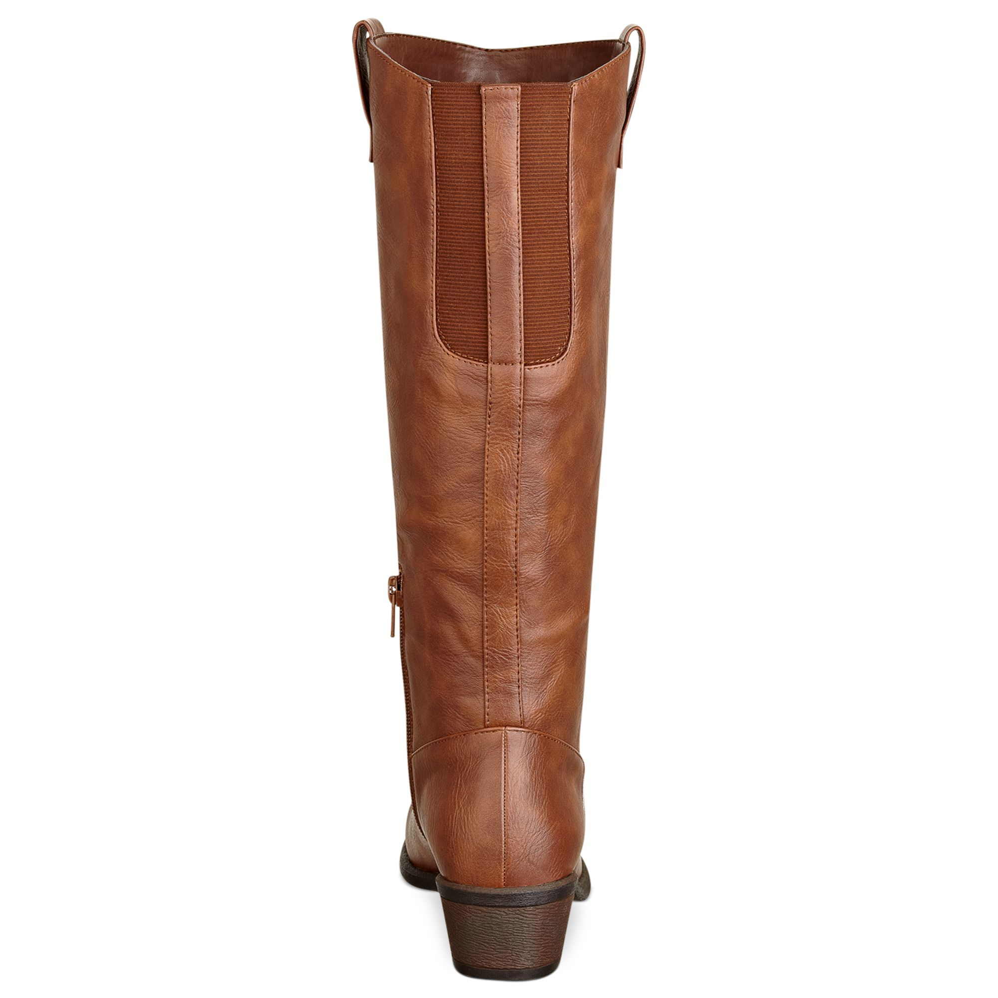 pink and pepper wide calf regee boots in brown lyst