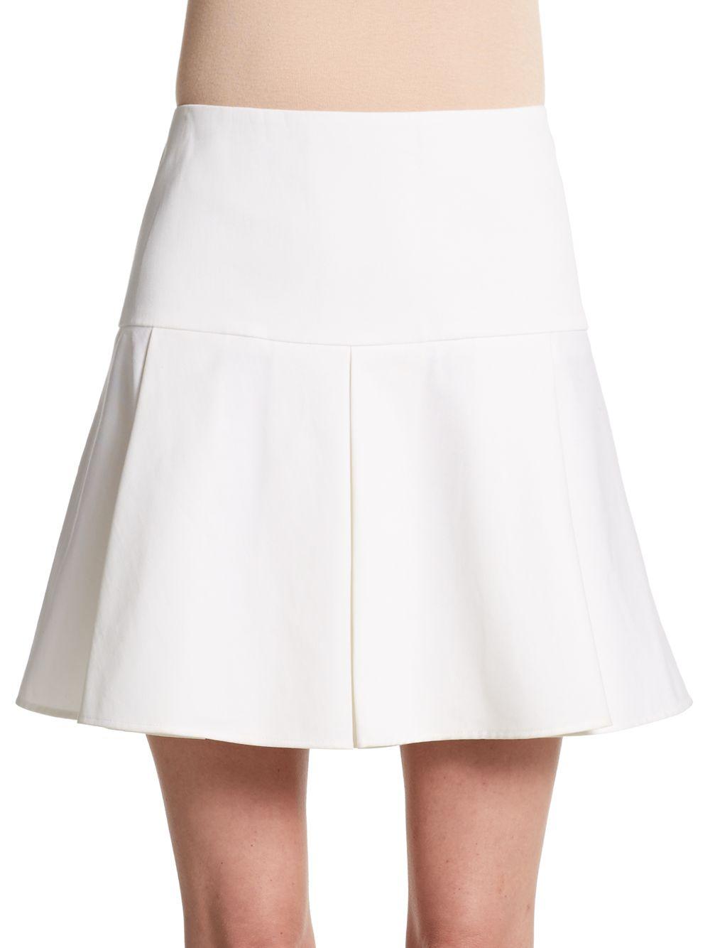 valentino stretch cotton pleated mini skirt in white