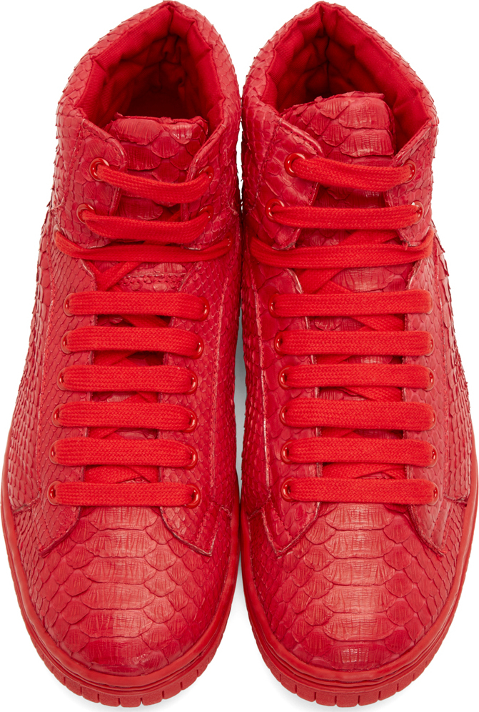 1545e3e17ea6 Lyst - Christian Peau Red Python High Top Sneakers in Red