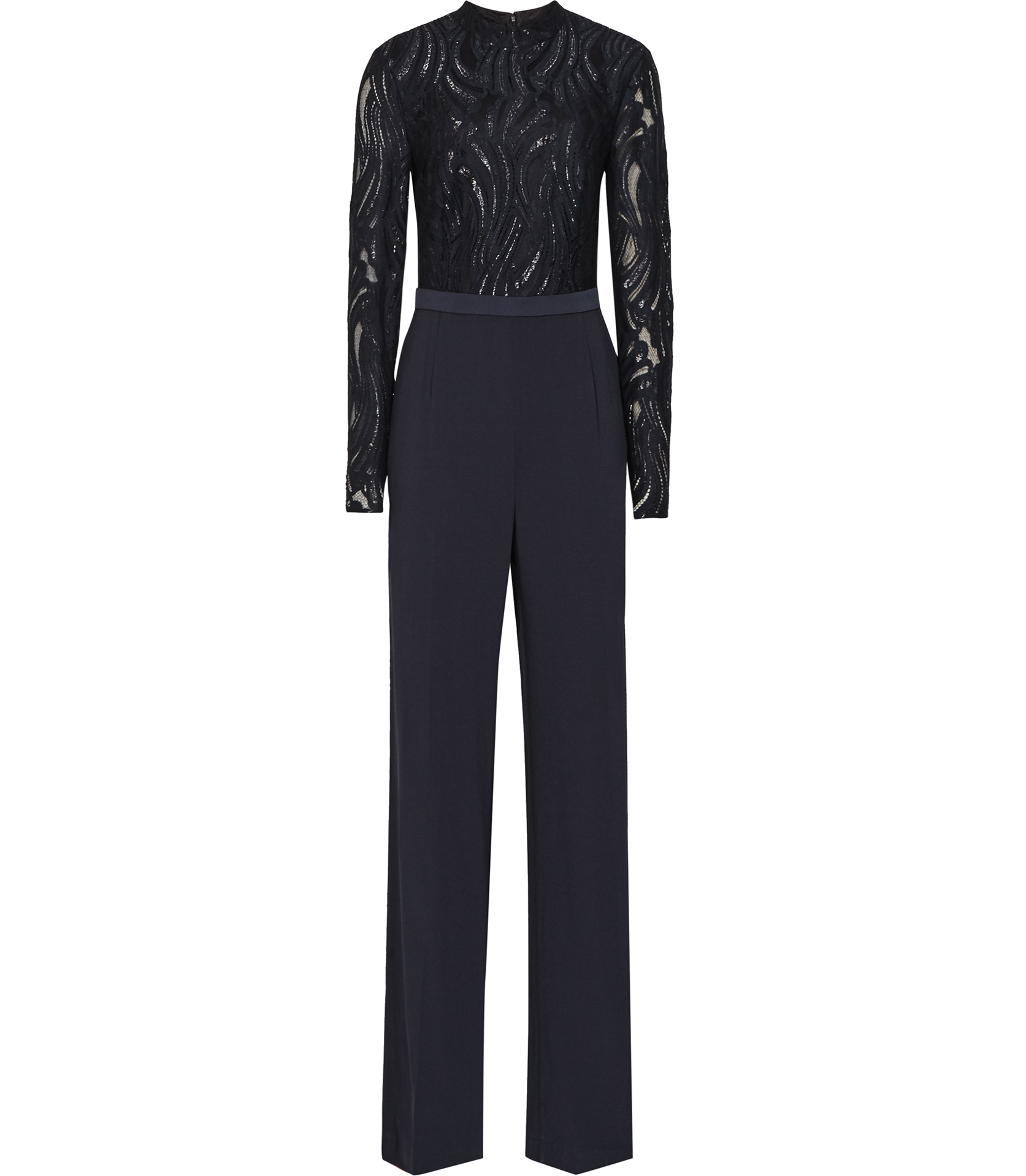 7f6063f3a843 Lyst - Reiss Oman Lace-top Jumpsuit in Black