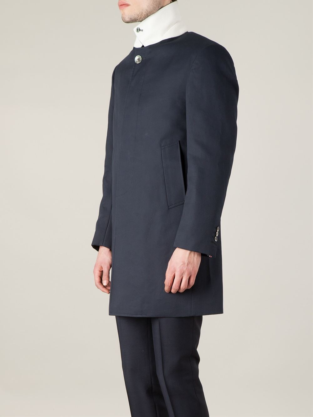 Thom browne Classic Cotton Trench Coat in Blue for Men