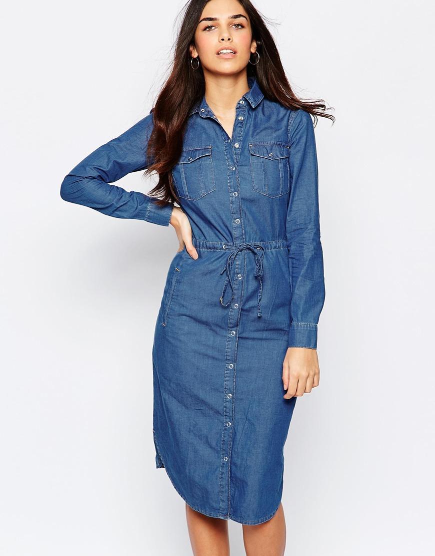 ea2bfecafa8 Warehouse Denim Shirt Dress in Blue - Lyst