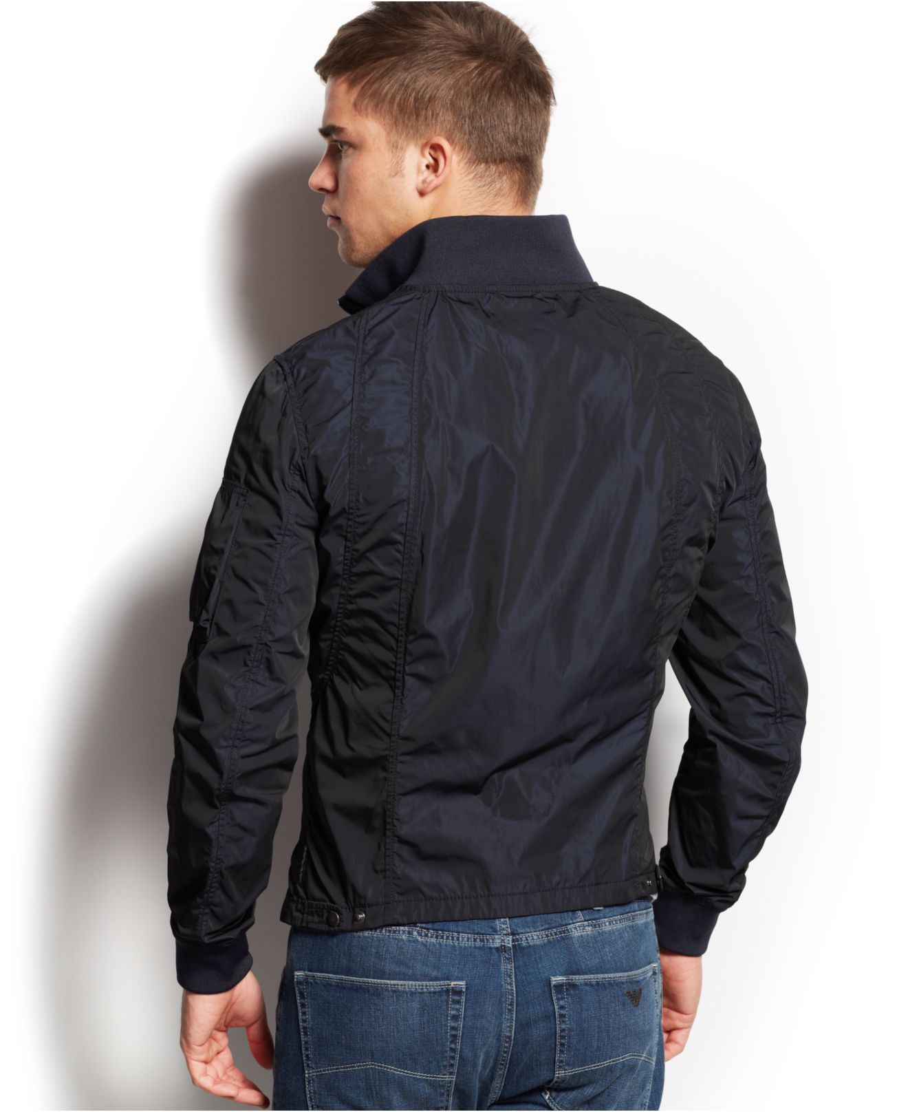 lyst armani jeans iridescent bomber jacket in black for men. Black Bedroom Furniture Sets. Home Design Ideas