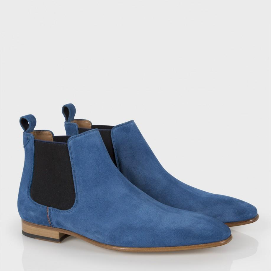 paul smith s blue suede falconer chelsea boots in