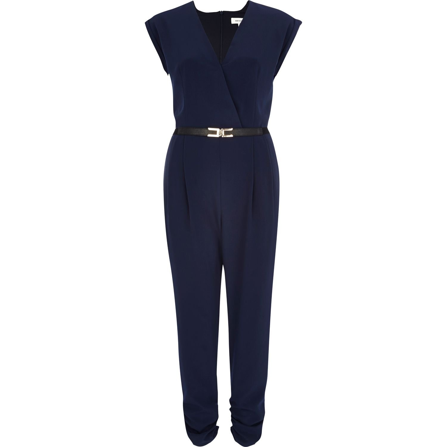 1c8aa7c35df8 River Island Navy Wrap Front Belted Jumpsuit in Blue - Lyst