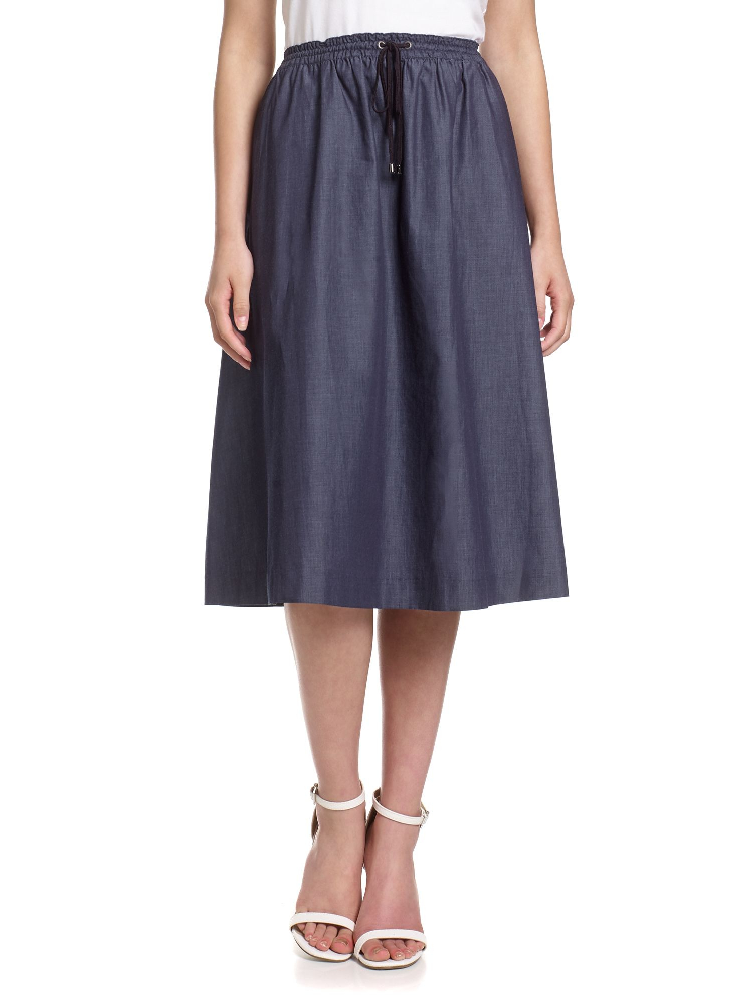 papell chambray a line midi skirt in blue lyst