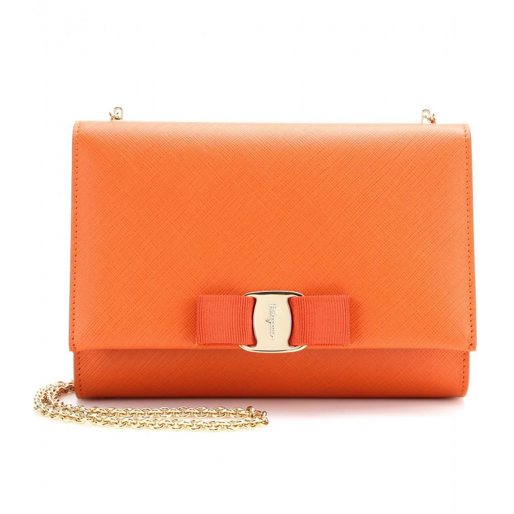 2c6097249917 Lyst - Ferragamo Ginny Small Leather Shoulder Bag in Orange
