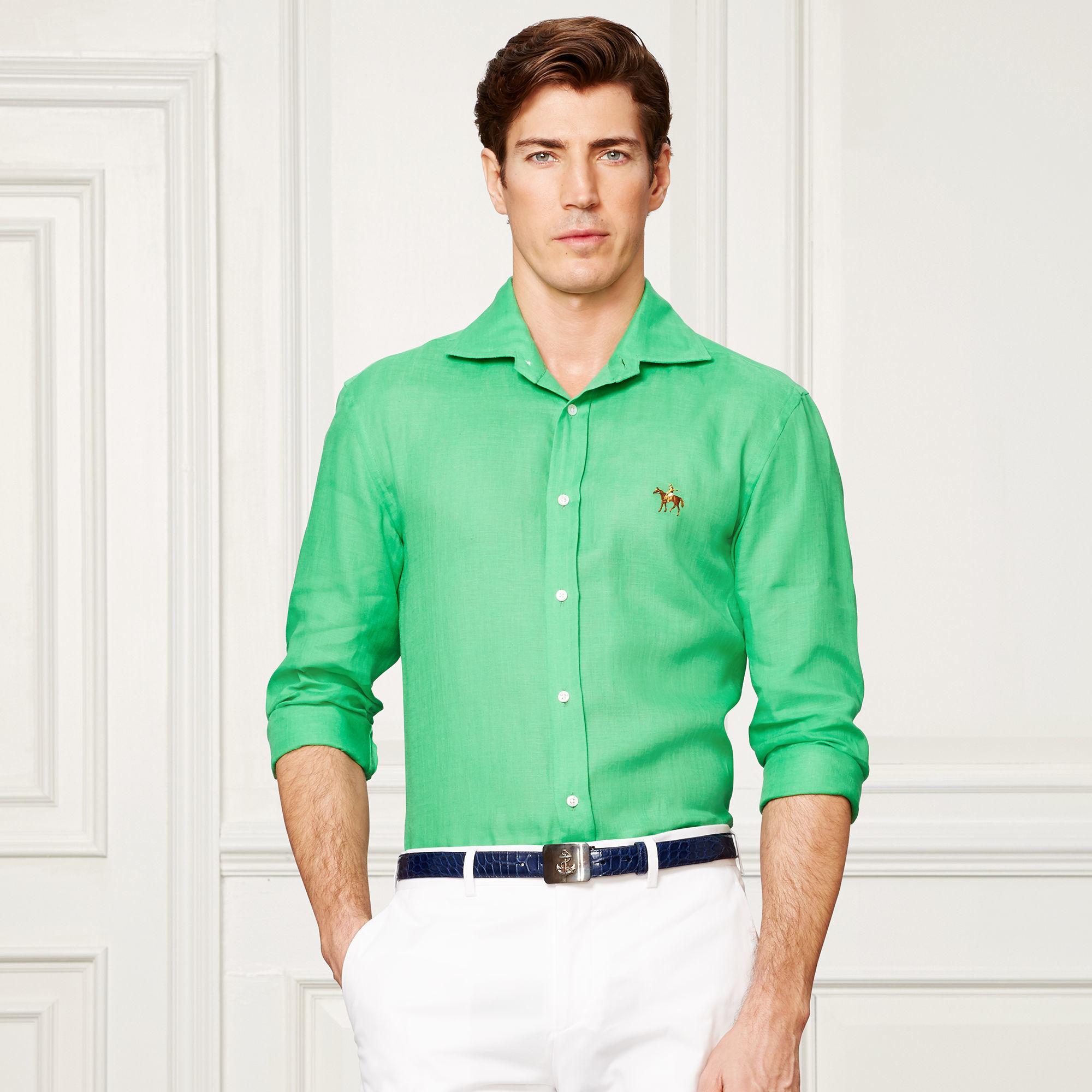 Lyst - Ralph Lauren Purple Label Aston Linen Sport Shirt in Green for Men