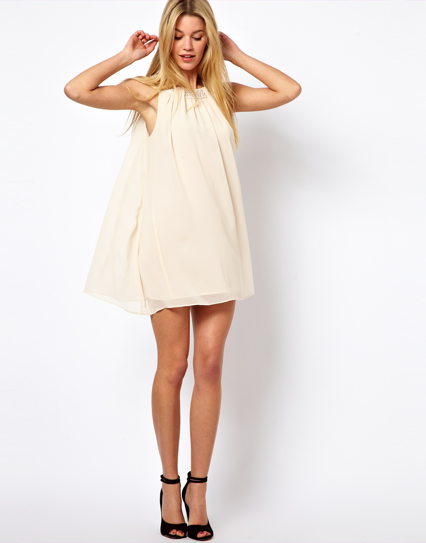 Lyst Darling Babydoll Dress With Pearl Neckline In Natural