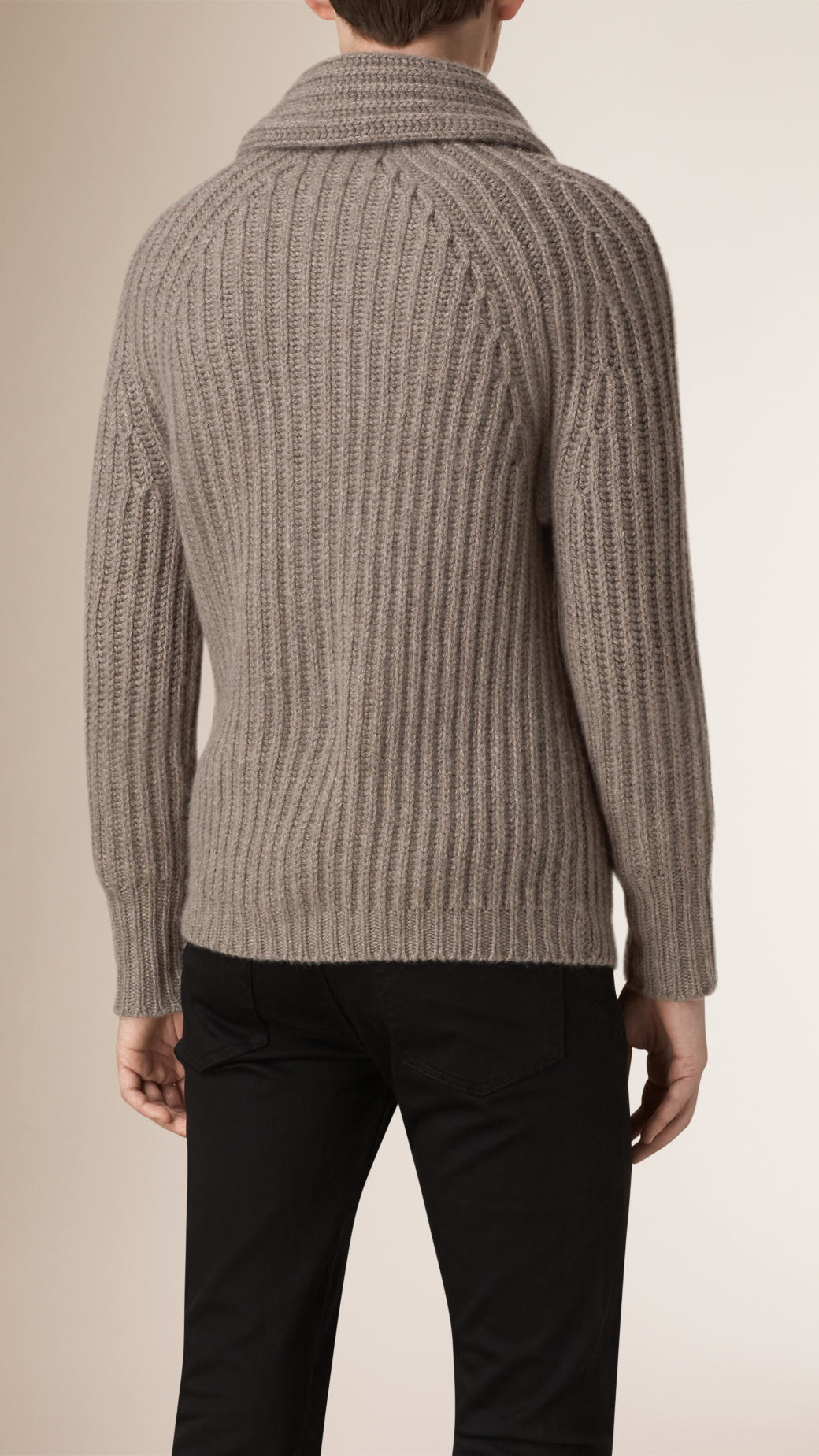 Burberry Shawl Collar Wool Cashmere Cardigan in Brown for Men | Lyst