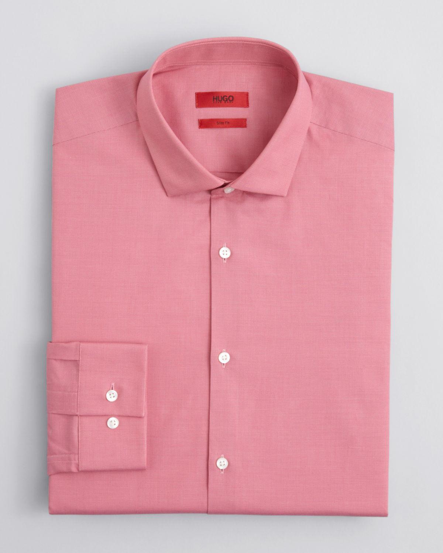Hugo boss hugo easton x woven dress shirt slim fit in red for Hugo boss dress shirts
