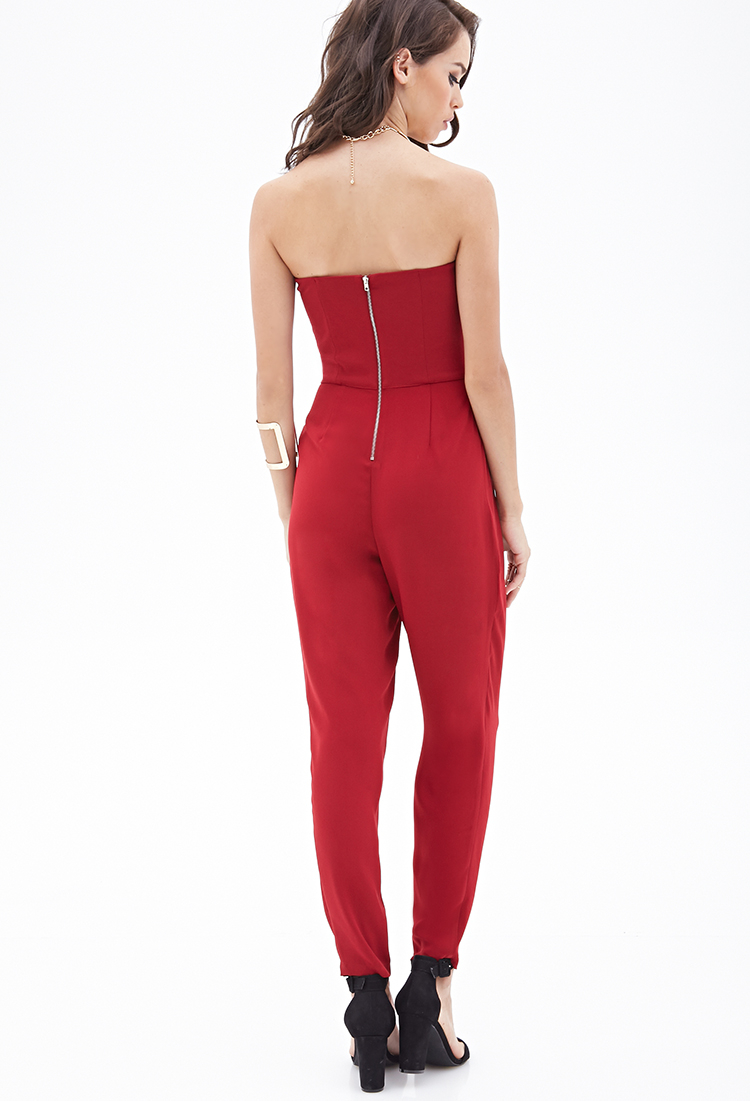 a227c50cb826 Forever 21 Strapless Pleated Jumpsuit in Red | Lyst