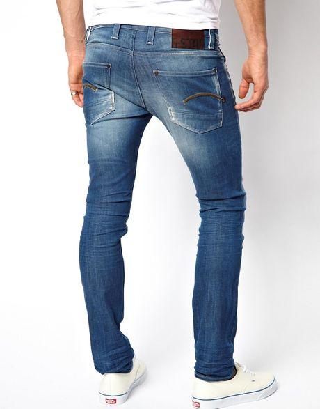 star raw g star jeans defend super slim fit medium aged in blue for. Black Bedroom Furniture Sets. Home Design Ideas