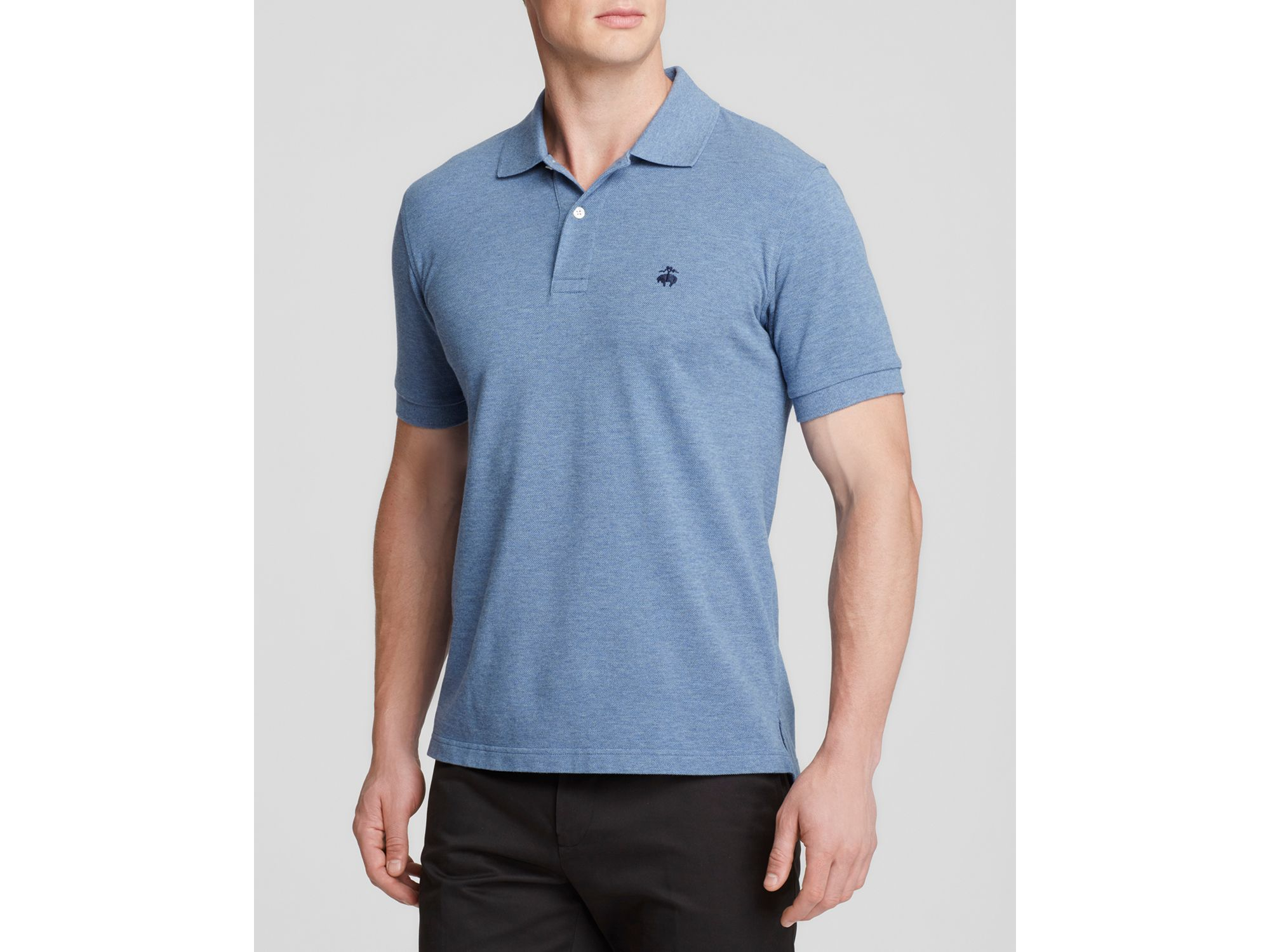 Lyst brooks brothers knit slim fit polo in blue for men for Brooks brothers custom shirt