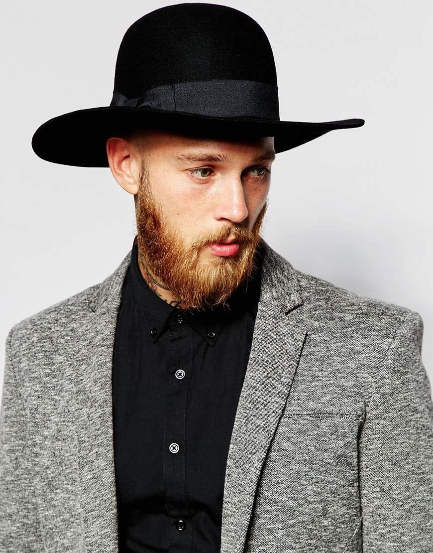 Lyst - ASOS Beekeeper Hat In Black Felt With Wide Brim in Black for Men dbce3fd30e8