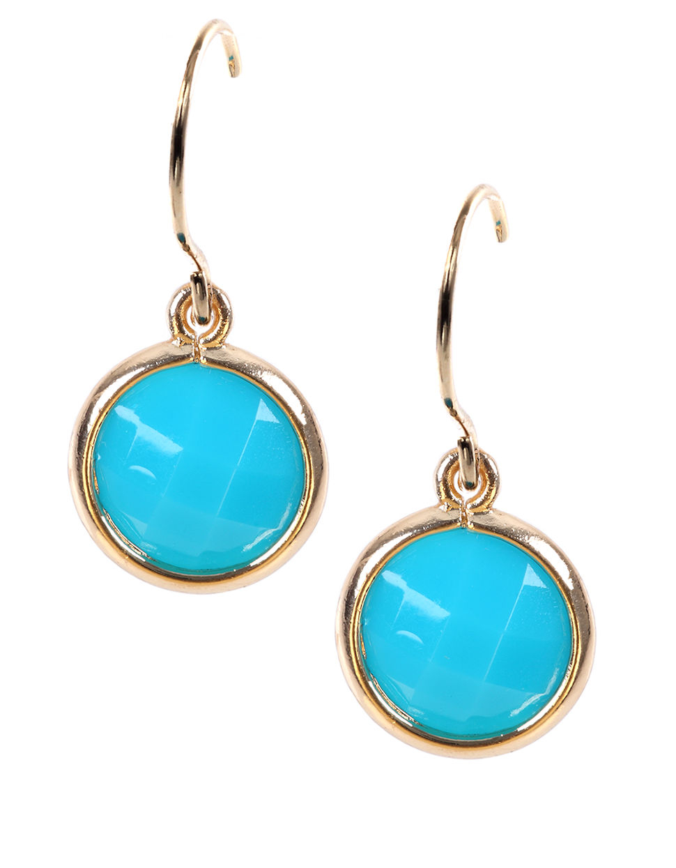 anne klein goldtone turquoise stone drop earrings in blue. Black Bedroom Furniture Sets. Home Design Ideas