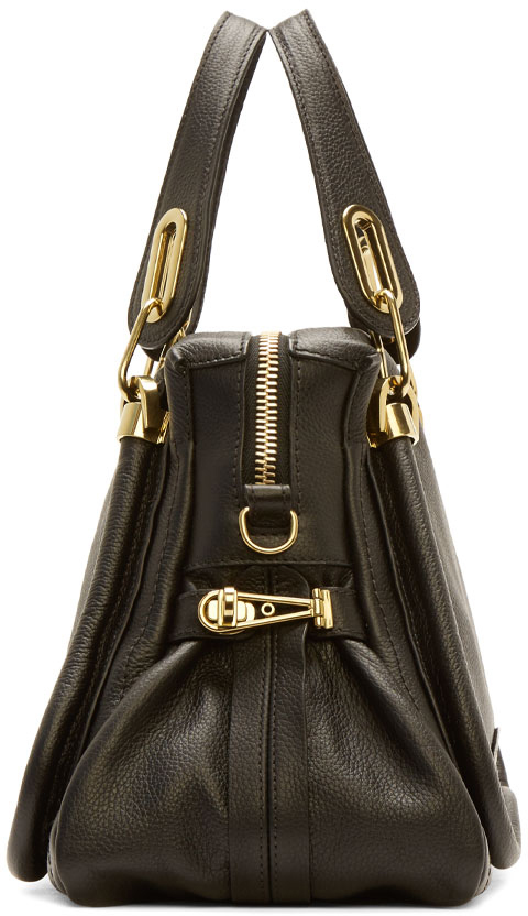 Chlo¨¦ Black Grained Leather Medium Paraty Bag in Black | Lyst