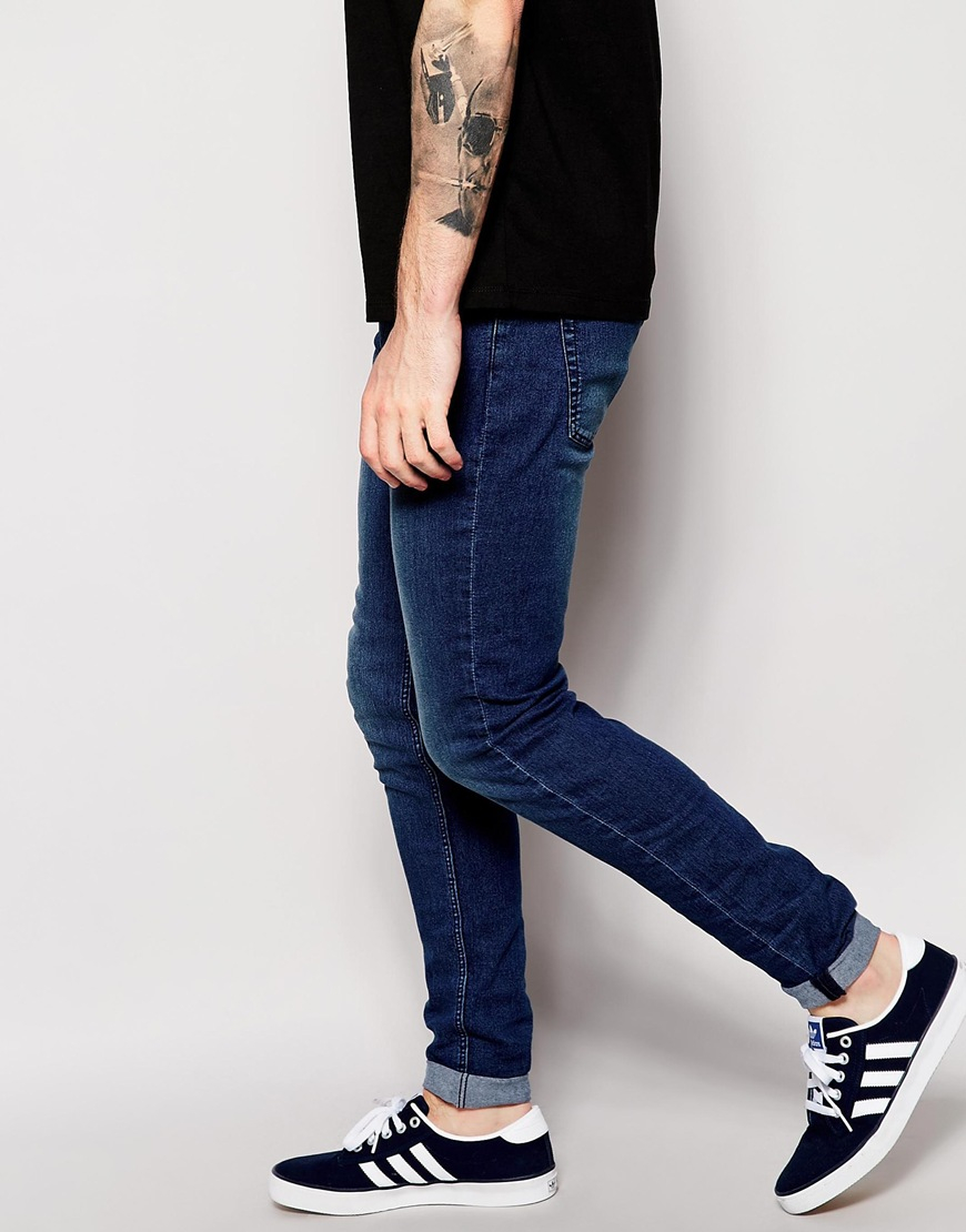 Cheap monday Jeans Him Spray Super Skinny Fit Mid Blue in Blue for