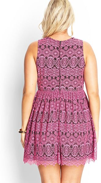 forever 21 ornate lace fit amp flare dress in pink black