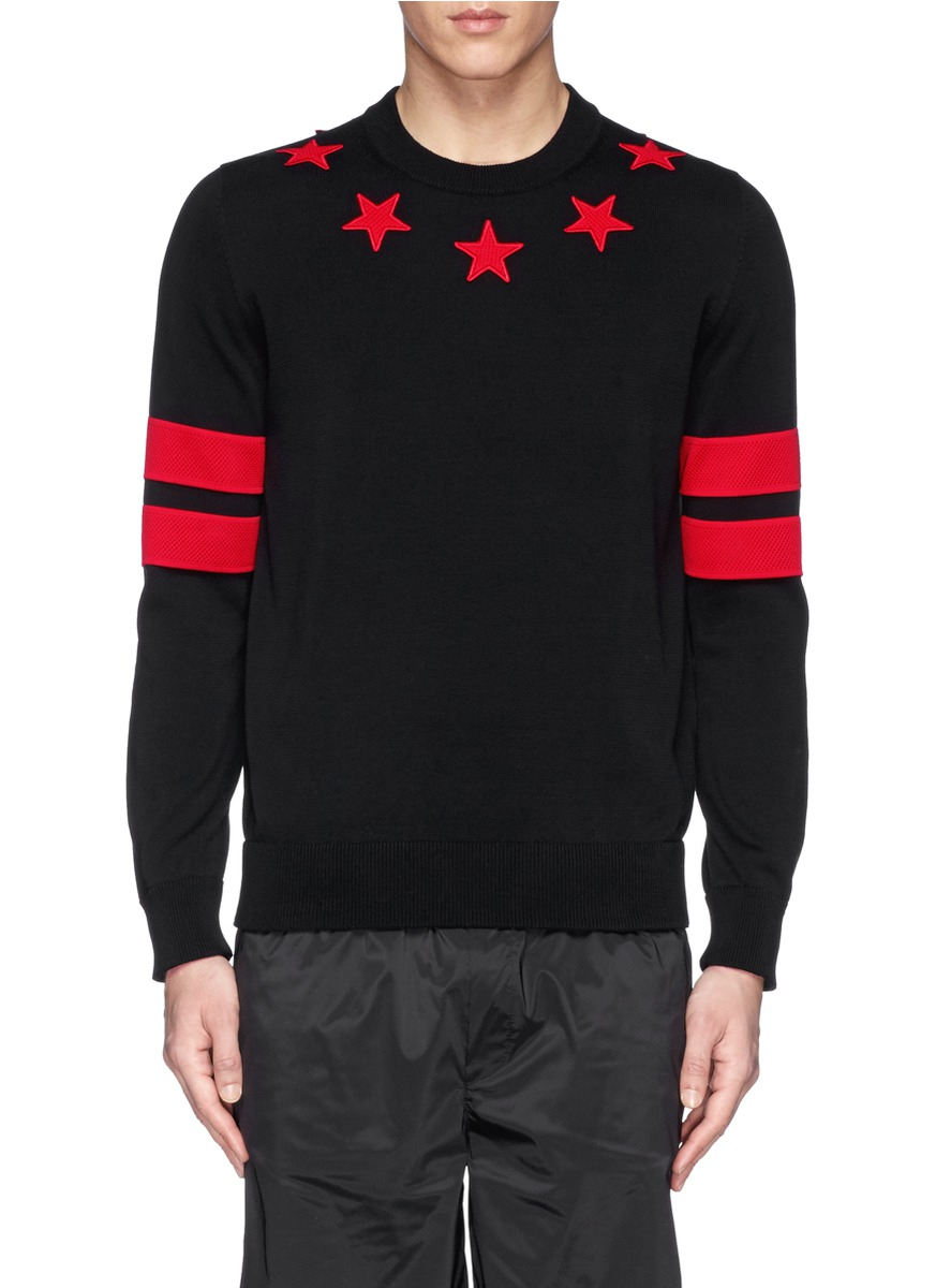 Lyst - Givenchy Star Stripe Cotton Sweater in Black for Men bd4ffea3350e