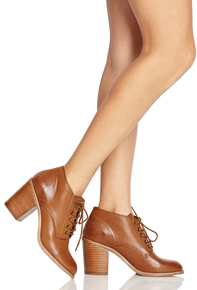 Lyst - Forever 21 Lace-up Ankle Boots in Brown d9cb913fa12a