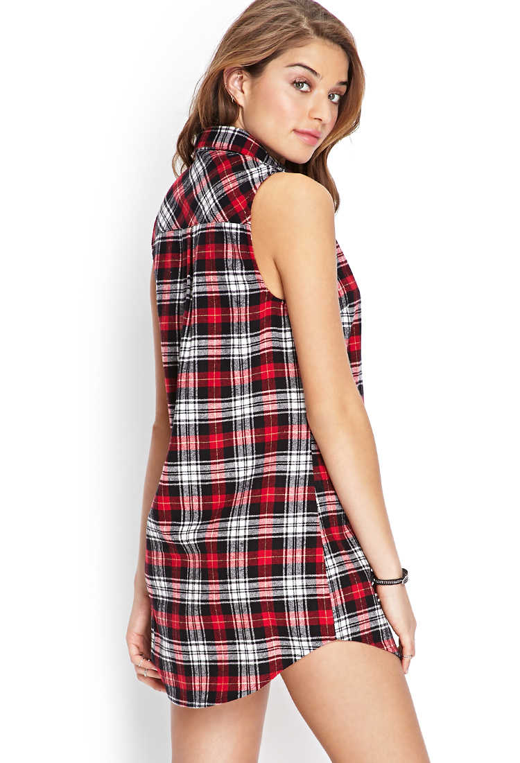 Lyst forever 21 plaid shirt dress in red for Red plaid dress shirt