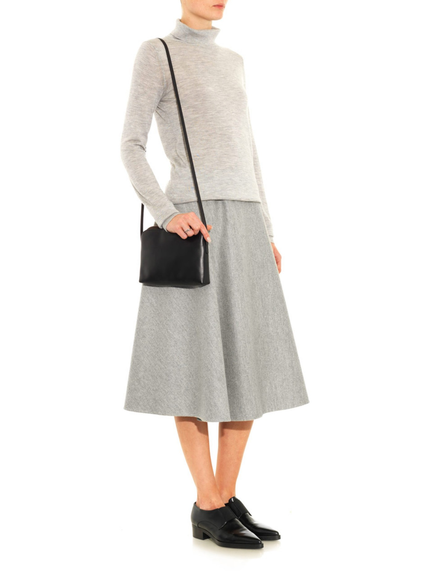 The row Nisha Double-faced Wool Midi Skirt in Gray | Lyst