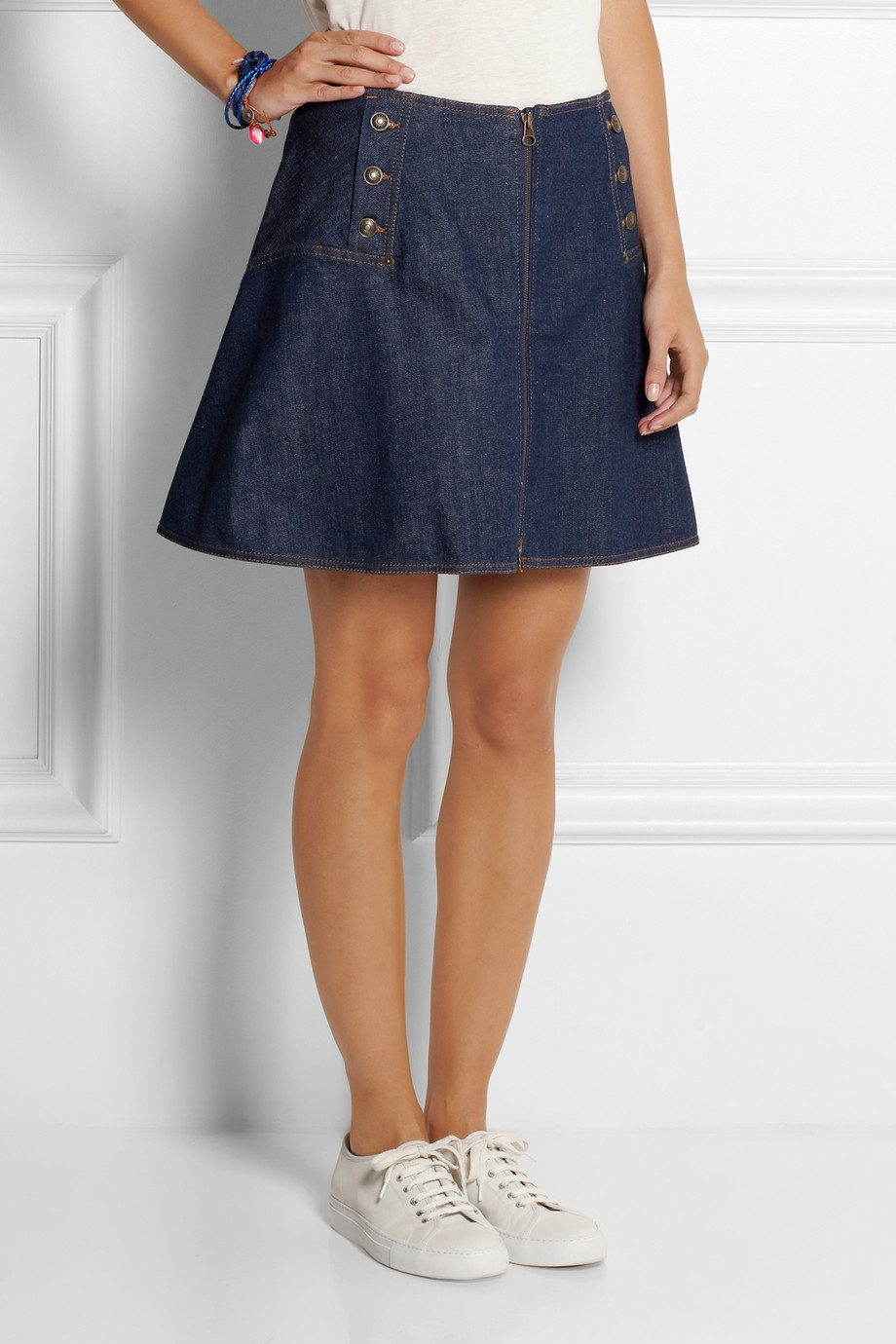 See by chloé Flared Stretch-Denim Mini Skirt in Blue | Lyst