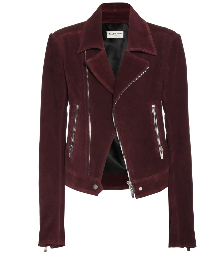balenciaga suede biker jacket in red lyst. Black Bedroom Furniture Sets. Home Design Ideas
